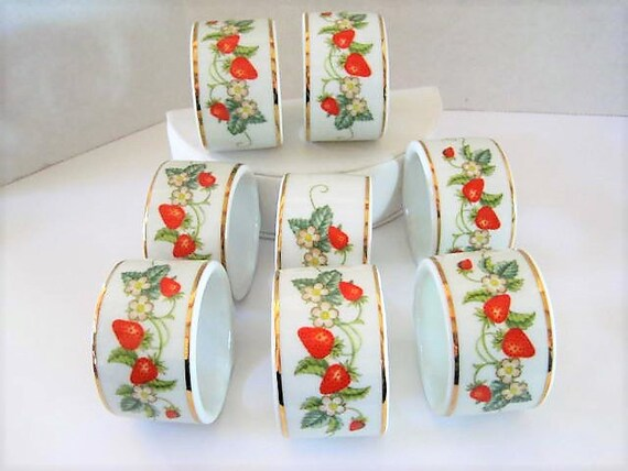 Strawberry Ceramic Napkin Rings, Set of 8,  Avon Products,  Made in Brazil ,  60's Design