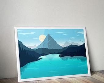 Minimal Lake Landscape