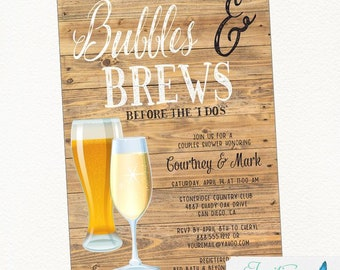Rustic Bubbles and Brews Couples Shower, Bridal Shower, Champagne Invitation, Beer Invitation, Engagement Party, Brewery Invitation, wood