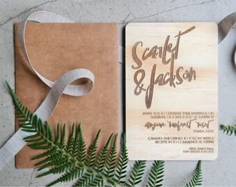 Wood wedding invitation. Laser engraved wood wedding invitation. 10 pack