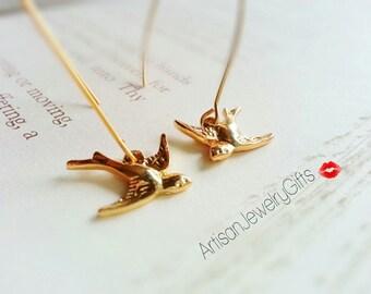 Gold Sparrow Earrings Dangle Earrings Swallow Earrings Gold Bird Earrings