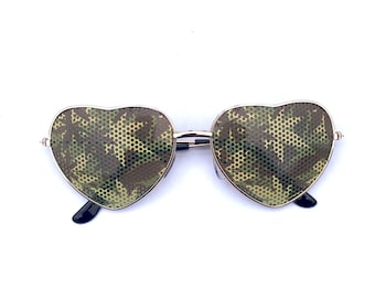 Cannabis Camouflage 420 Weed Patterned Festival Aviator Heart-Shaped Gold Sunglasses