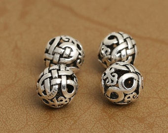 Round 925 Sterling Silver Beads Thai Silver Weave Spacer Beads Supply DIY 10mm Bead High Quality Y408