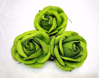 5 pcs. 50mm/2 inches Green mulberry paper roses - paper flowers #258