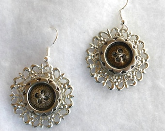 Eco Chic Vintage Button Earrings SE175