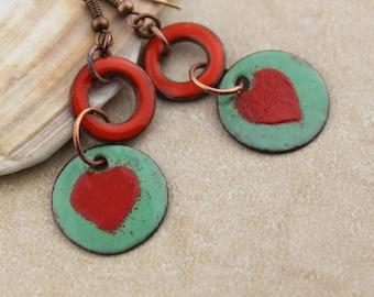 Artisan, Enameled, Copper Heart Dangle Earrings