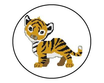 Counted Cross Stitch Pattern, Baby Tiger Cross-Stitch Pattern PDF, Jungle Animals