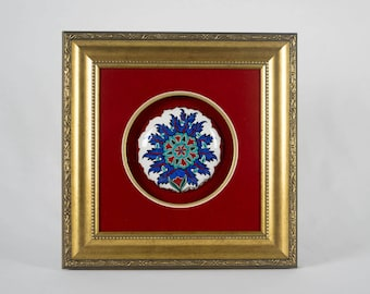 Handmade Ceramic (Iznik ceramic) Wall Decor with Gold Frame
