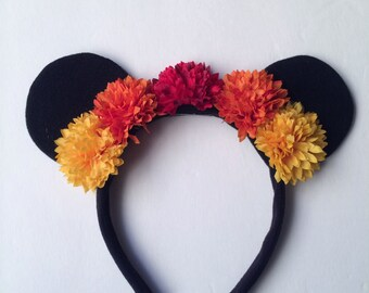 Kids' Fall Floral Crown Mouse Ears