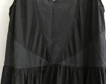 Ladies black drop waist sleeveless summer dress - cotton/silk panelled