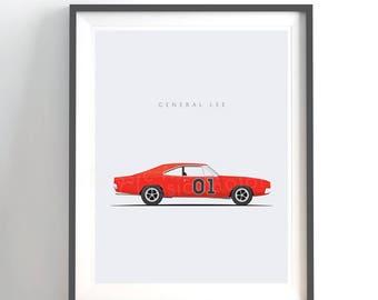 Dukes of Hazzard General Lee - Chrysler Charger - 8x10 inch unframed print