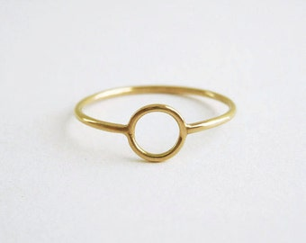 Gold Circle Ring   Thin Gold Ring   Delicate Gold Ring  18k recycled gold