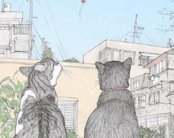Cats love TLV (Tel Aviv) Postcard featuring Rafi and Spageti, the famous Israeli cats from Ha'aretz Newspaper Comics