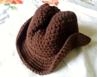 Baby Cowboy Hat - Baby Cowboy Hat Photo Prop - Brown Baby Cowboy Hat - Toddler Cowboy Hat - Newborn through 4T - Made to Order