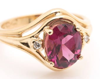 14ky Rhodolite Garnet & Diamond Ring