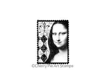 Mona Lisa POSTOID- Leonardo DaVinci -CLiNG RuBBer STaMP by Cherry Pie E198