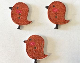 Red Bird Button - Wooden Buttons - Large Button - Red Button - Craft Supplies - Scrapbook Buttons - Notions - Embellishment - Craft Supplies