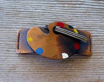 Vintage Rebajes Scarf Slide, REBAJES Copper Enamel Painter's Palette and Paintbrush Belt Buckle, Rebajes Buckle, Paint Palette Scarf Slide