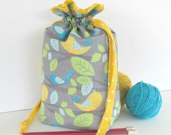 Knitting Bag, Drawstring Project Bag, Knitter's yarn bowl, Medium Knitting tote, turquoise yellow birds, Knit on the Go bag