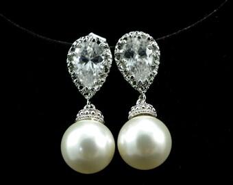 Drop Pearl Earrings, Cubic Zirconia Swarovski Dangle Pearl Earrings white/ ivory Bridal pearl earrings, wedding jewelry, Bridesmaid Gift