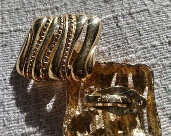 Gold Color Square Givenchy Paris New York Clip On Earrings
