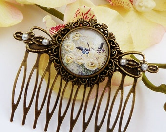 Romantic hair comb with chinese garden, lotus blossom, vintage hair comb, bird hair comb, bronze