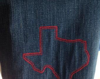Texas Tote Bag Denim Blue Boot flowers embroidered washable denim heavy duty straps lined zipper pocket inside pocket 9 13 repurposed denim