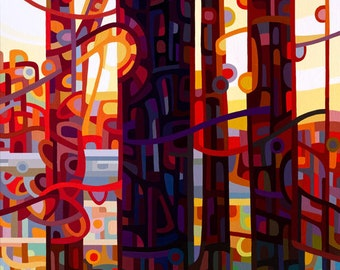 Large Fine Art Poster Print of an Original Abstract Acrylic Painting  - Carnelian Morning