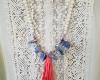 Chunky Blue Agate with Coral Tassel and Ivory Colored 8mm Swarovski Pearls Necklace and Earring Set