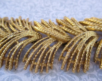 Vintage Sarah Coventry Gold Bracelet wide chunky funky textured gorgeous 1960 jewelry signed designer