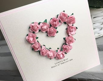 Vintage Wedding Invitation / Flower Wedding Invitation / Flower Wedding Invite / Pretty Wedding Invite / Pink Wedding Invite / Simple