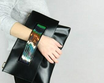 Leather Clutch / Shoulder Bag, black clutch, evening bag, leather purse, crossbody bag