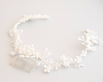 Bridal headpiece - Crown of orange blossoms and porcelain flowers with Pearl Swarovski