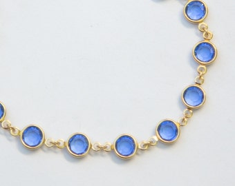 Gold Birthstone Bracelet, September Sapphire Jewelry, Blue Swarovski Crystal Birthstone Bracelet