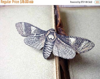 destash Moth Brooch, Brown and Beige Butterfly Pin, Gift for Collector or Naturalist