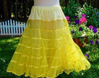 "Vintage Petticoat Crinoline Bright Lemon Yellow Square Dance Net Slip, Satin Trimmed, 2 Layer, Malco Modes Waist 27"" - 33"""