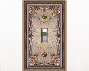 1124X - Art Deco Stained Glass (faux) Image - mrs butler switch plate covers -
