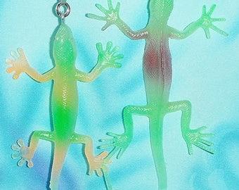 Two ~ Glow-in-the-Dark Green/Purple/Orange Lizard ~ Ceiling Fan Pull Chains