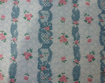 """Two Yards and 16"""" Vintage Cotton Fabric with Pretty Roses Lattice Work and Leaves Ticking Design"""