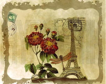 Vintage Digital Print- City- Paris