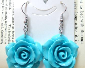 Sky Blue Rose Dangle Earrings