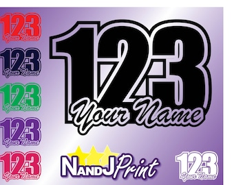 3 x Race number LARGE, name stickers decals MX motocross pit bike Standard colour