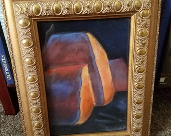 Original framed pastel abstract art