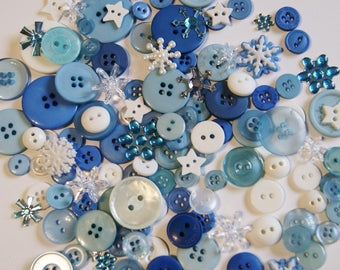 150 Blue Buttons and Embellishments, Winter Mix, Art Buttons , Crafting Jewelry (Ao 23a)