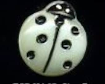 lady bug button, white Czech glass button  - size 6, 13.5 mm FCB H162