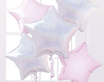 Star Balloons Foil Balloons Holographic Balloons Silver Balloons Birthday Balloons Unicorn Party Set of 5 Balloon Bouquet Pink Balloons