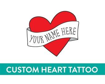mothers day personalized temporary tattoo custom heart tattoo fake tattoo retro vintage americana tattoo red heart banner custom name tattoo