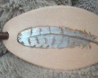 Hand Painted Feather Leather Hair Barrette/Shawl Pin