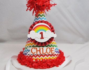 Rainbow Party Hat, 1st Birthday Girl,  Personalized Party Hat, Rainbow Birthday, Rainbow Birthday Hat, Photo Prop, Rainbow Party
