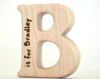 Personalized Alphabet Letter Teether - Choose Your Letter - Wooden Baby Toy - by hcwoodcraft